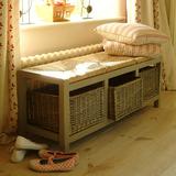 Large Wicker Storage Seat