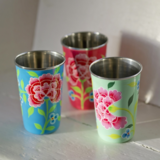 Set of 3 Frangipani Enamel Cups