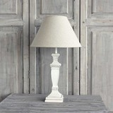 'Antique White' Wooden Urn Lamp & Shade