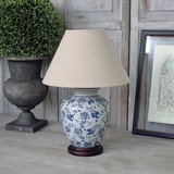 Blue Floral Lamp with Linen Shade