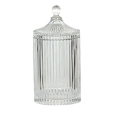 Tall Ridged Glass Jar