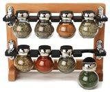 8 Jar Beechwood Spice Rack & Spices
