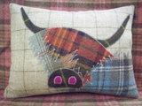 Handmade Highland Cow Cushion 1