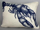 Hand-printed Lobster Cushion
