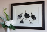 'A Rasp of Guineafowl' Signed Mounted Print