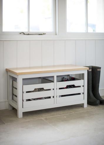 Emsworth Spruce Storage Bench & Crates